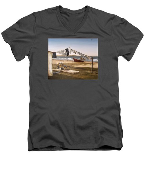 Men's V-Neck T-Shirt featuring the painting Sea Kids by Natalia Tejera