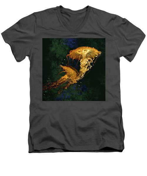 Men's V-Neck T-Shirt featuring the digital art Sea Nettle Jellies by Thanh Thuy Nguyen