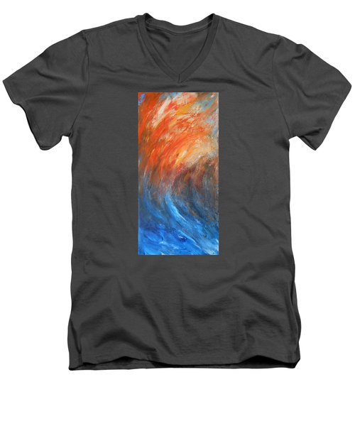 Men's V-Neck T-Shirt featuring the painting Sea Of Passion by Jane See