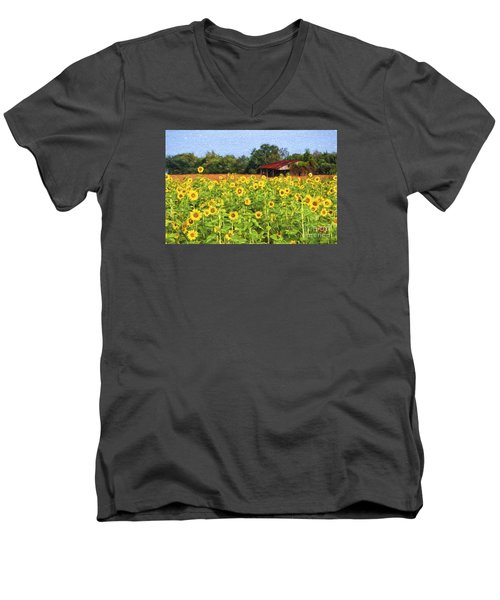 Sea Of Sunflowers Men's V-Neck T-Shirt by Bonnie Barry