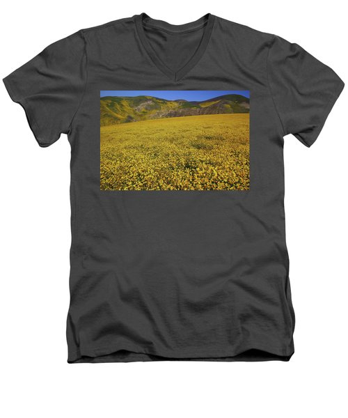 Men's V-Neck T-Shirt featuring the photograph Sea Of Yellow Up In The Temblor Range At Carrizo Plain National Monument by Jetson Nguyen