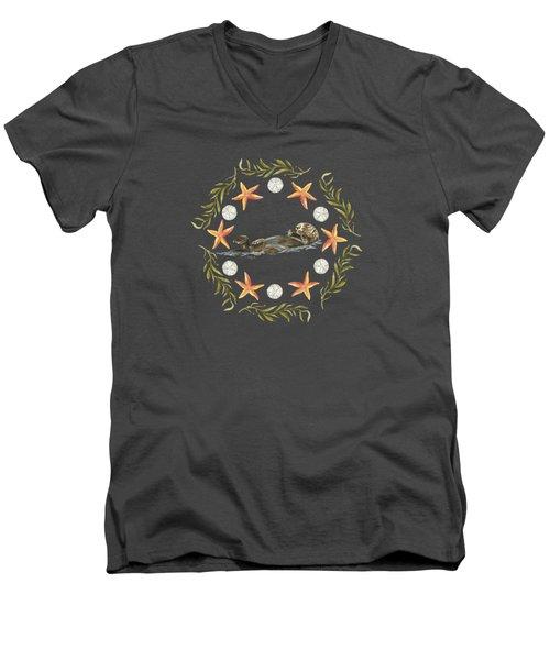 Sea Otter Mandala Men's V-Neck T-Shirt by Cindy Skidgel