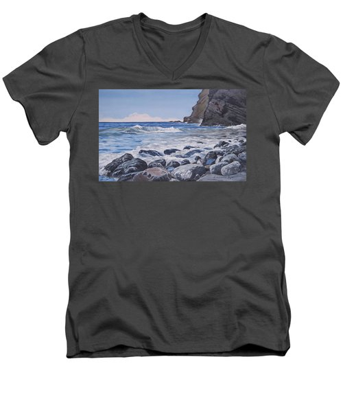 Men's V-Neck T-Shirt featuring the painting Sea Pounded Stones At Crackington Haven by Lawrence Dyer