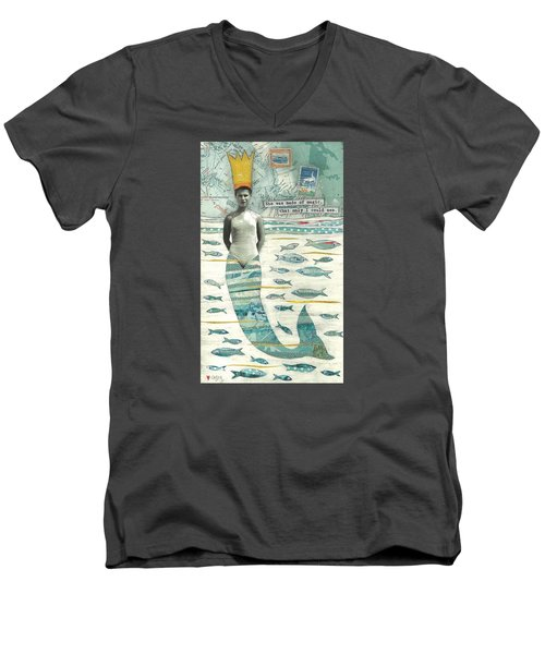 Men's V-Neck T-Shirt featuring the painting Sea Queen by Casey Rasmussen White