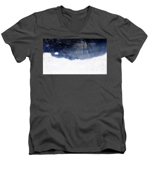 Sea, Satellite - Coast Line On Blue Ocean Illusion Men's V-Neck T-Shirt
