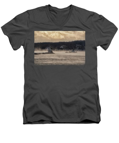 Sea Smoke At Rockland Breakwater Light Men's V-Neck T-Shirt