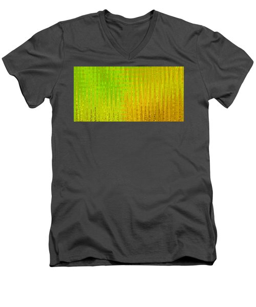 Sea Song Green And Gold Men's V-Neck T-Shirt by Stephanie Grant