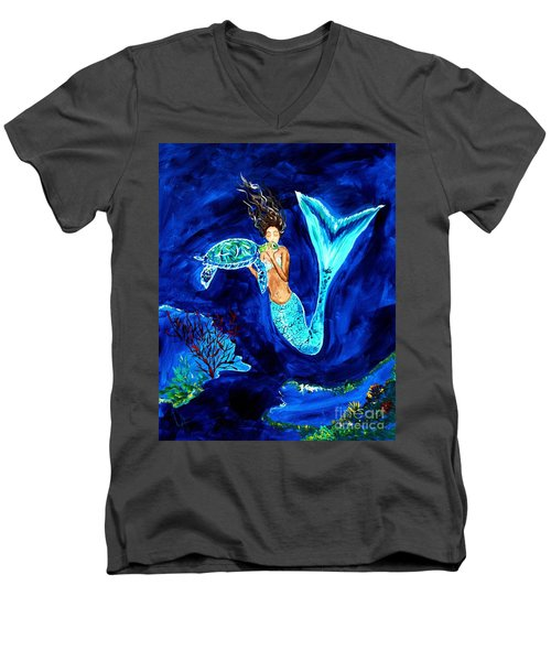 Sea Turtle Kiss Men's V-Neck T-Shirt by Leslie Allen