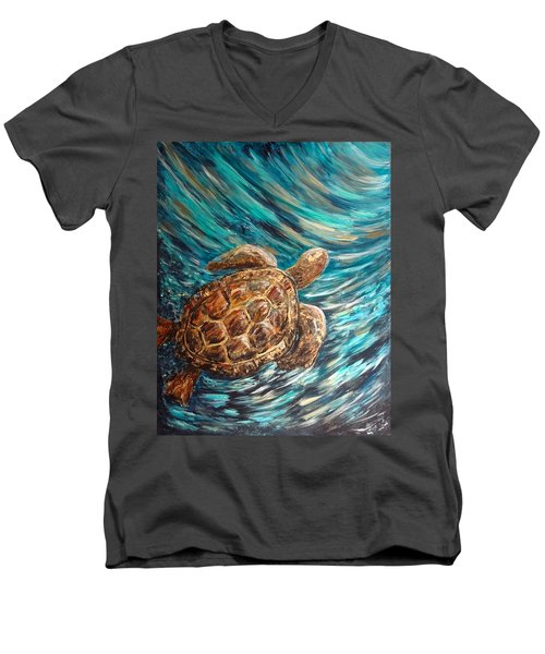 Sea Turtle Wave Guam Men's V-Neck T-Shirt