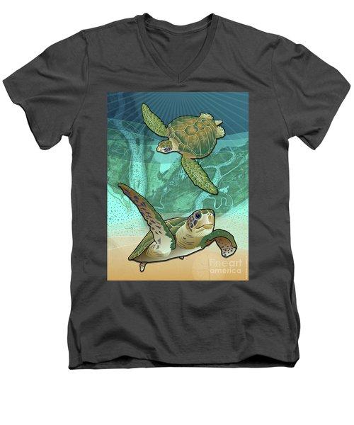 Sea Turtles Near Beaufort, Sc Men's V-Neck T-Shirt