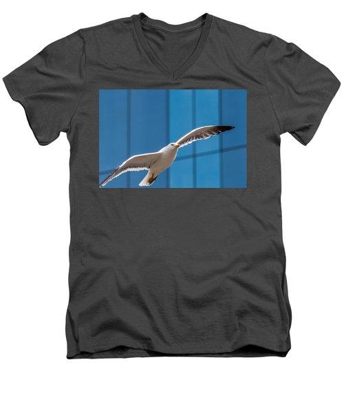Seabird Flying On The Glass Building Background Men's V-Neck T-Shirt