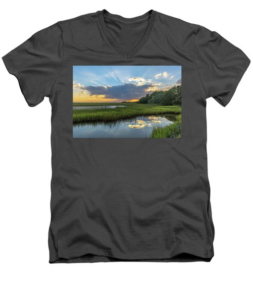 Men's V-Neck T-Shirt featuring the photograph Seabrook Island Sunrays by Donnie Whitaker