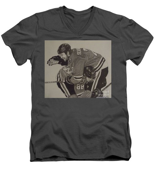 Men's V-Neck T-Shirt featuring the drawing Seabs Scores The Winner by Melissa Goodrich