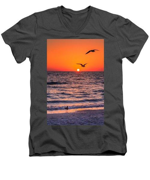 Seagull Hat-trick Men's V-Neck T-Shirt by Craig Szymanski