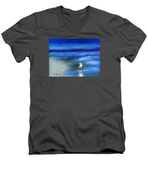 Seagull Standing 2 Men's V-Neck T-Shirt by Frank Bright