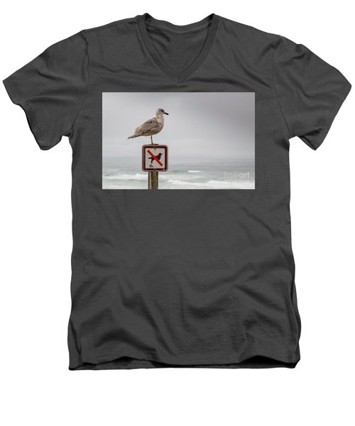 Seagull Standing On Sign And Looking At The Ocean Men's V-Neck T-Shirt