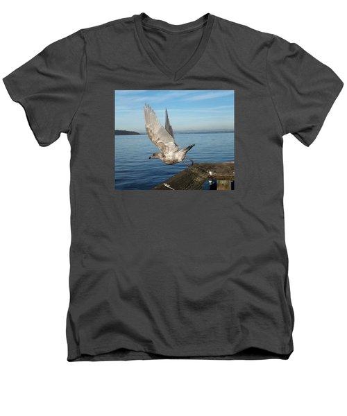 Seagull Taking Off Men's V-Neck T-Shirt