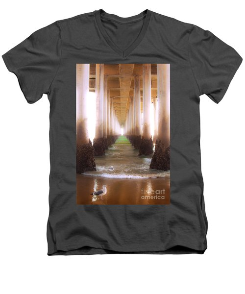 Men's V-Neck T-Shirt featuring the photograph Seagull Under The Pier by Jerry Cowart