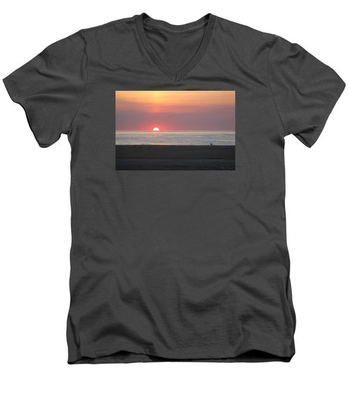 Men's V-Neck T-Shirt featuring the photograph Seagull Watching Sunrise by Robert Banach