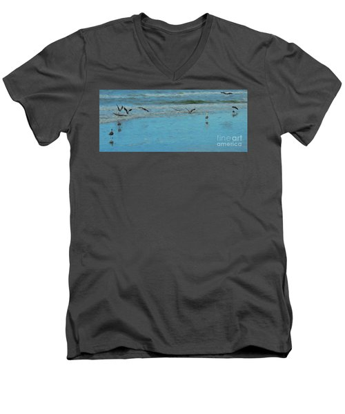 Men's V-Neck T-Shirt featuring the photograph Seagulls At Myrtle Beach by Mim White