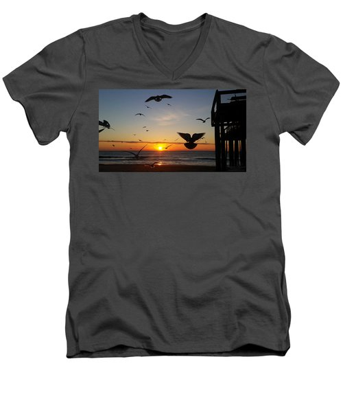 Seagulls At Sunrise Men's V-Neck T-Shirt