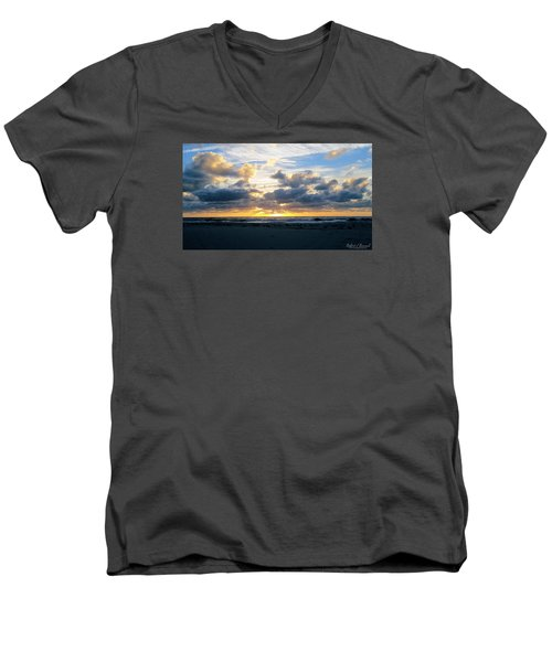 Men's V-Neck T-Shirt featuring the photograph Seagulls On The Beach At Sunrise by Robert Banach