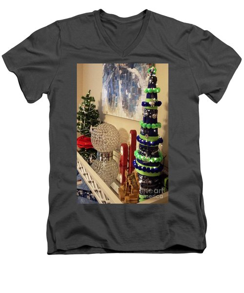 Men's V-Neck T-Shirt featuring the photograph Seahawk Christmas by Judyann Matthews
