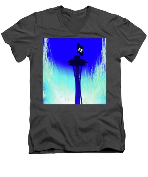 Seahawks Sunset At The Space Needle Men's V-Neck T-Shirt