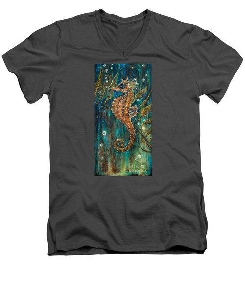 Seahorse And Kelp Men's V-Neck T-Shirt