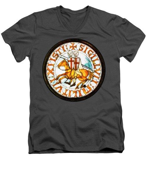 Seal Of The Knights Templar Men's V-Neck T-Shirt by John Springfield