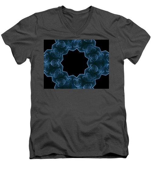 Seamless Kaleidoscope Blue Men's V-Neck T-Shirt