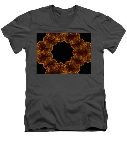 Seamless Kaleidoscope Gold Men's V-Neck T-Shirt