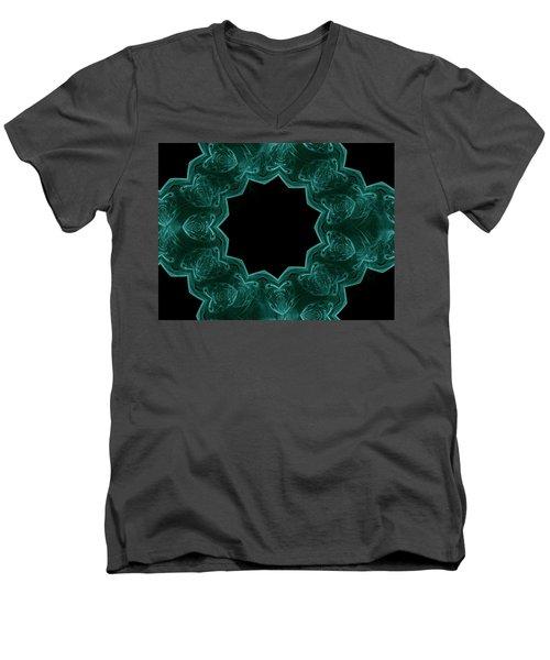 Seamless Kaleidoscope Green Men's V-Neck T-Shirt