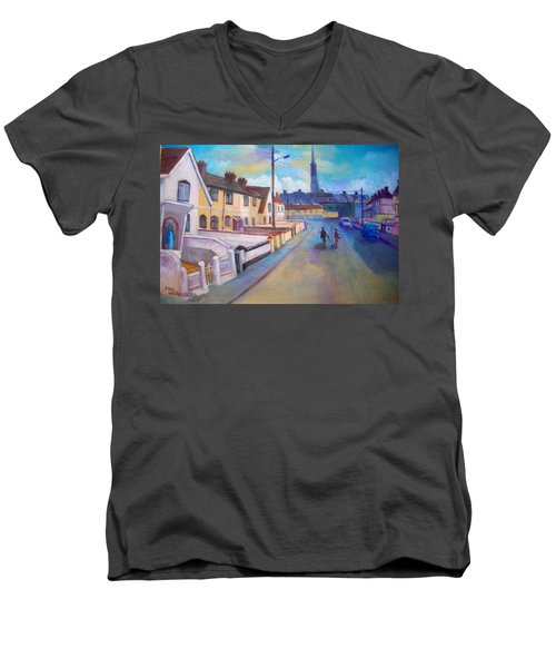 Men's V-Neck T-Shirt featuring the painting Sean Hueston Place Limerick Ireland by Paul Weerasekera