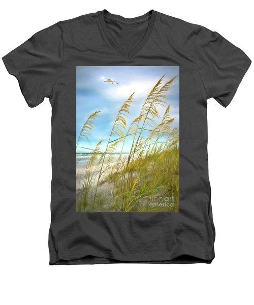 Seaoats Fantasy Men's V-Neck T-Shirt by Linda Olsen