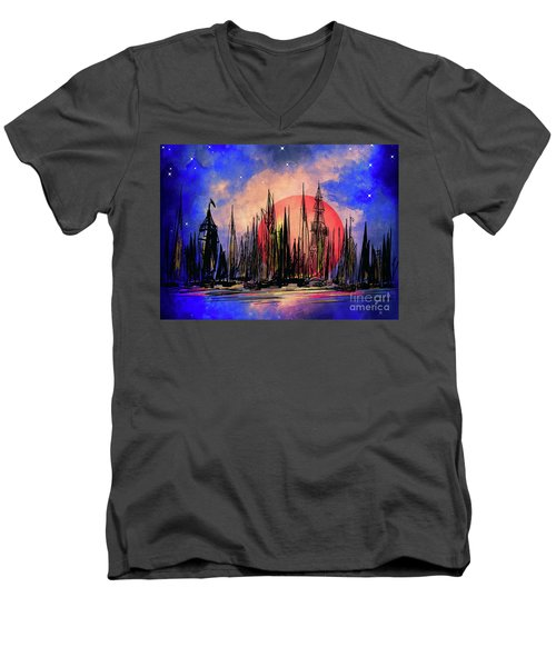 Men's V-Neck T-Shirt featuring the drawing Seaport by Andrzej Szczerski