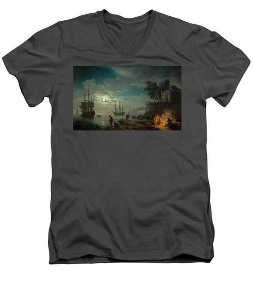 Seaport By Moonlight Men's V-Neck T-Shirt