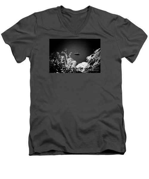 Seascape With Boat Artmif.lv Balck And White Men's V-Neck T-Shirt