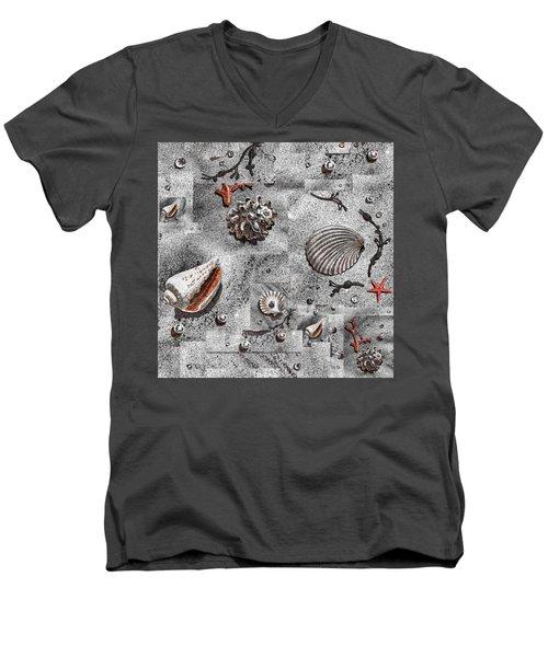 Seashells Collage Of Any Color Men's V-Neck T-Shirt by Irina Sztukowski