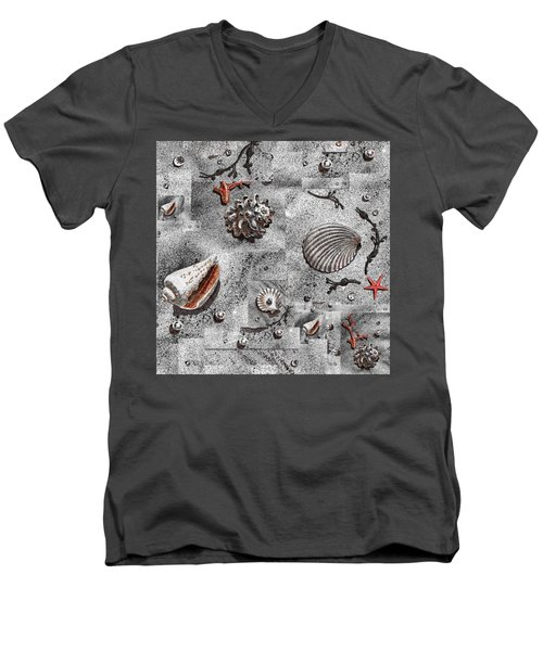 Seashells Collage Of Any Color Men's V-Neck T-Shirt