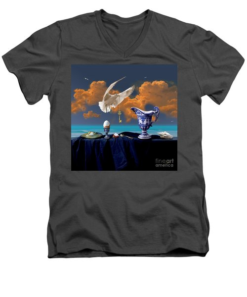 Men's V-Neck T-Shirt featuring the digital art Seaside Breakfast by Alexa Szlavics