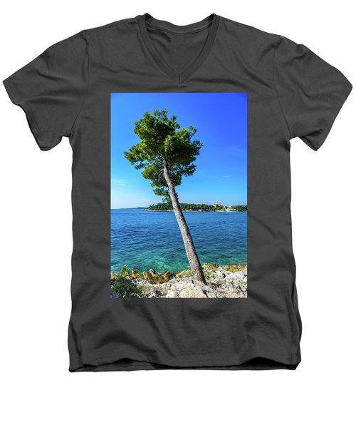 Seaside Leaning Tree In Rovinj, Croatia Men's V-Neck T-Shirt