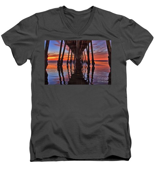 Seaside Reflections Under The Imperial Beach Pier Men's V-Neck T-Shirt