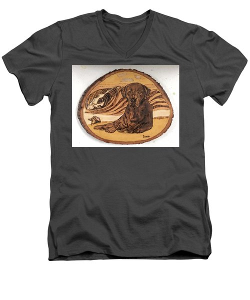 Men's V-Neck T-Shirt featuring the pyrography Seaside Sam by Denise Tomasura