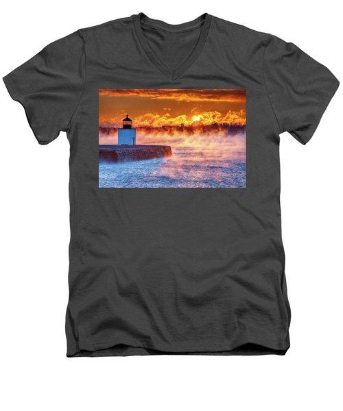 Seasmoke At Salem Lighthouse Men's V-Neck T-Shirt