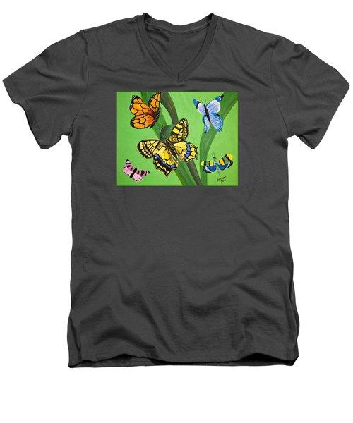 Season Of Butterflies Men's V-Neck T-Shirt by Donna Blossom