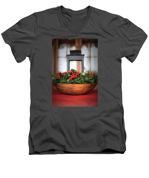 Men's V-Neck T-Shirt featuring the photograph Seasons Greetings Christmas Centerpiece by Shelley Neff