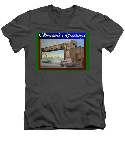 Men's V-Neck T-Shirt featuring the painting Season's Greetings Old Mine by Stuart Swartz