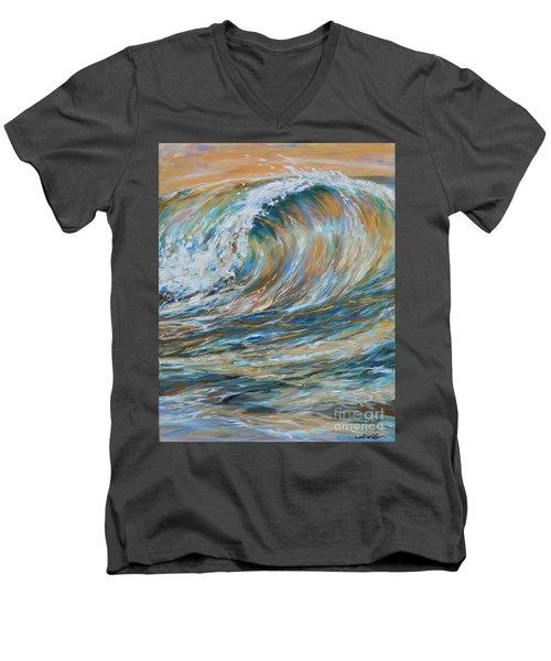 Seaspray Gold Men's V-Neck T-Shirt by Linda Olsen
