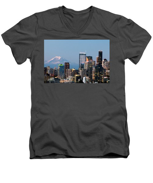 Seattle At First Light I Men's V-Neck T-Shirt by E Faithe Lester